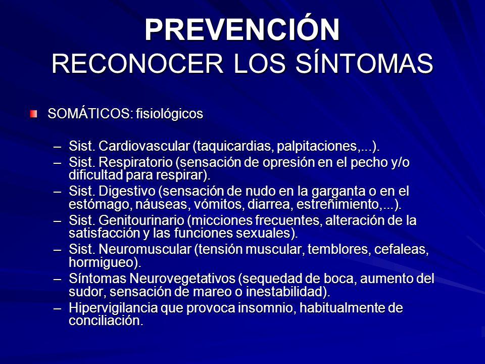 PREVENCIÓN RECONOCER LOS SÍNTOMAS