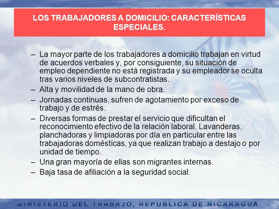 LOS TRABAJADORES A DOMICILIO: CARACTERÍSTICAS ESPECIALES.
