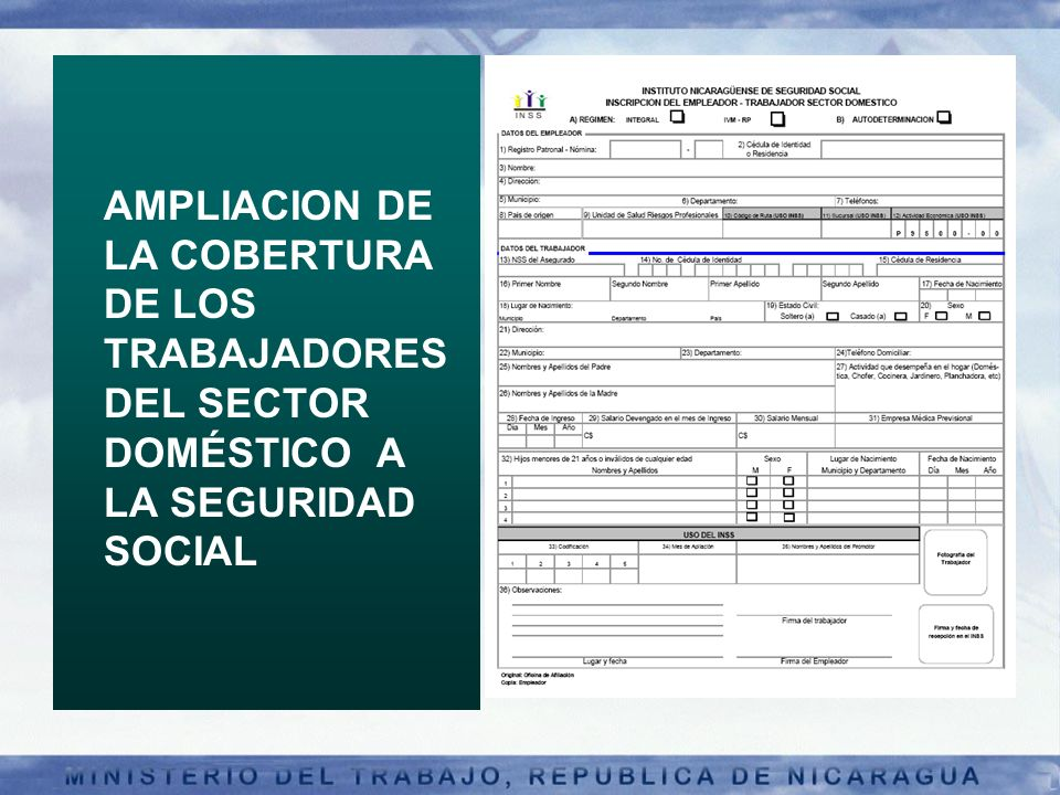 AMPLIACION DE LA COBERTURA DE LOS TRABAJADORES DEL SECTOR DOMÉSTICO A LA SEGURIDAD SOCIAL