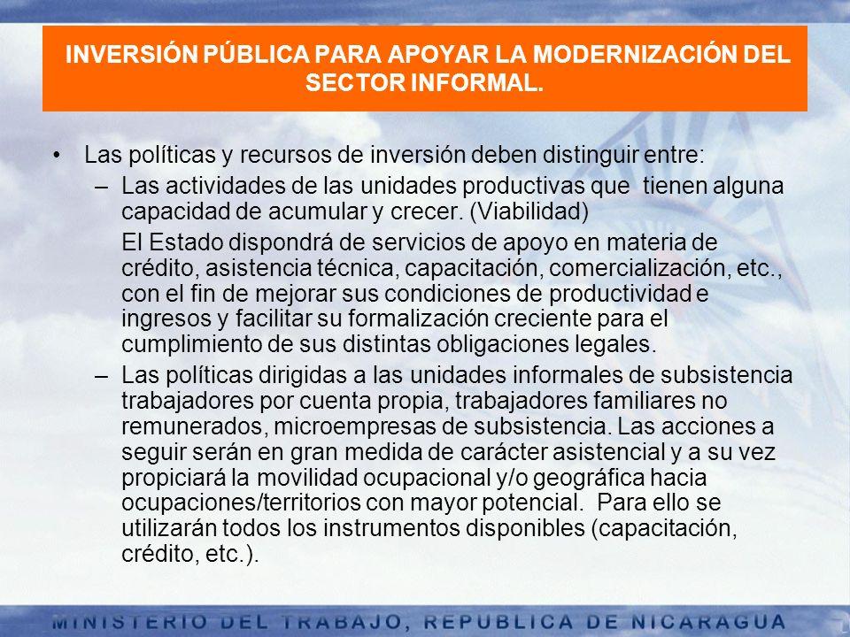 INVERSIÓN PÚBLICA PARA APOYAR LA MODERNIZACIÓN DEL SECTOR INFORMAL.