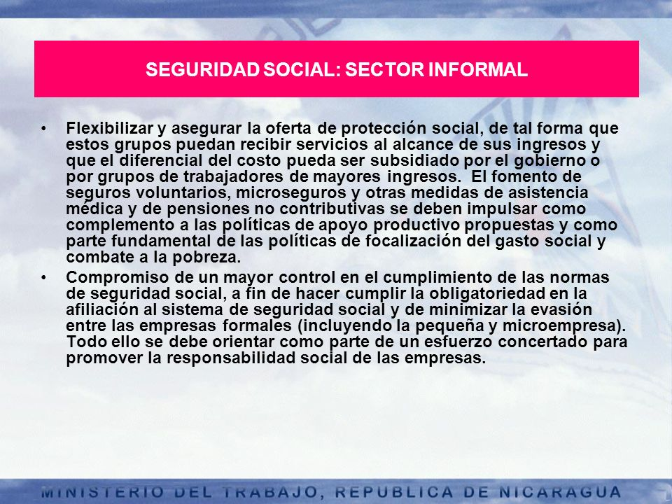 SEGURIDAD SOCIAL: SECTOR INFORMAL