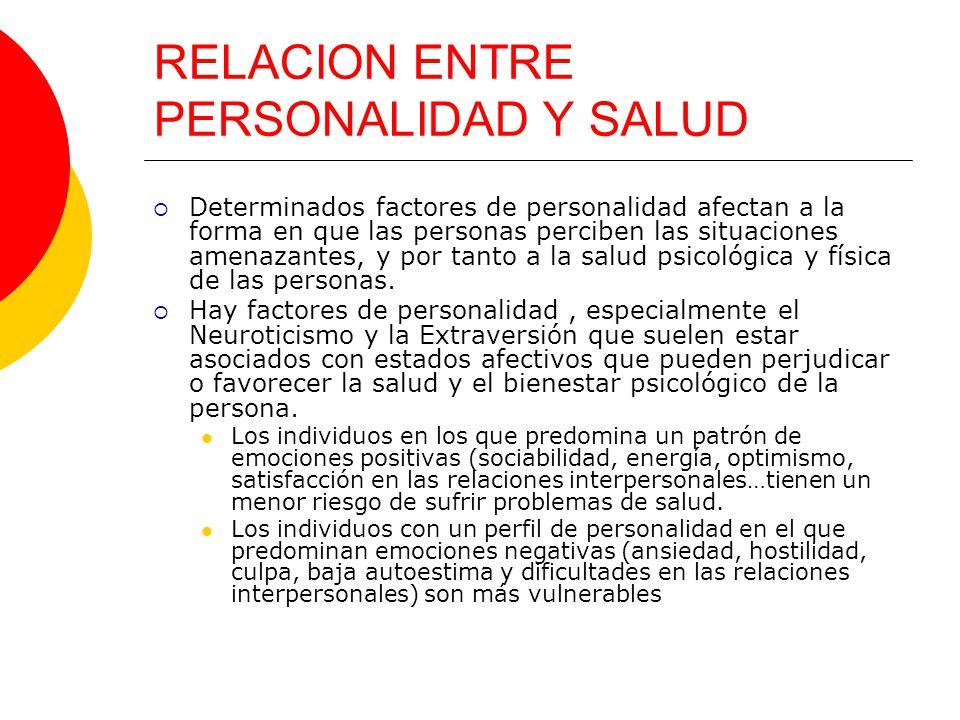 RELACION ENTRE PERSONALIDAD Y SALUD