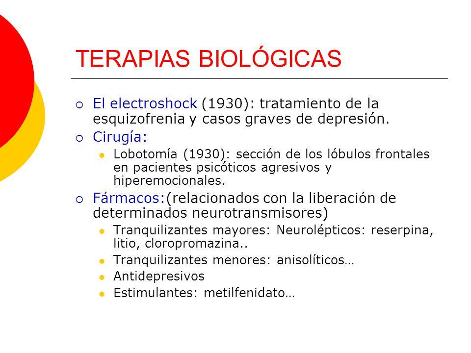 TERAPIAS BIOLÓGICAS El electroshock (1930): tratamiento de la esquizofrenia y casos graves de depresión.