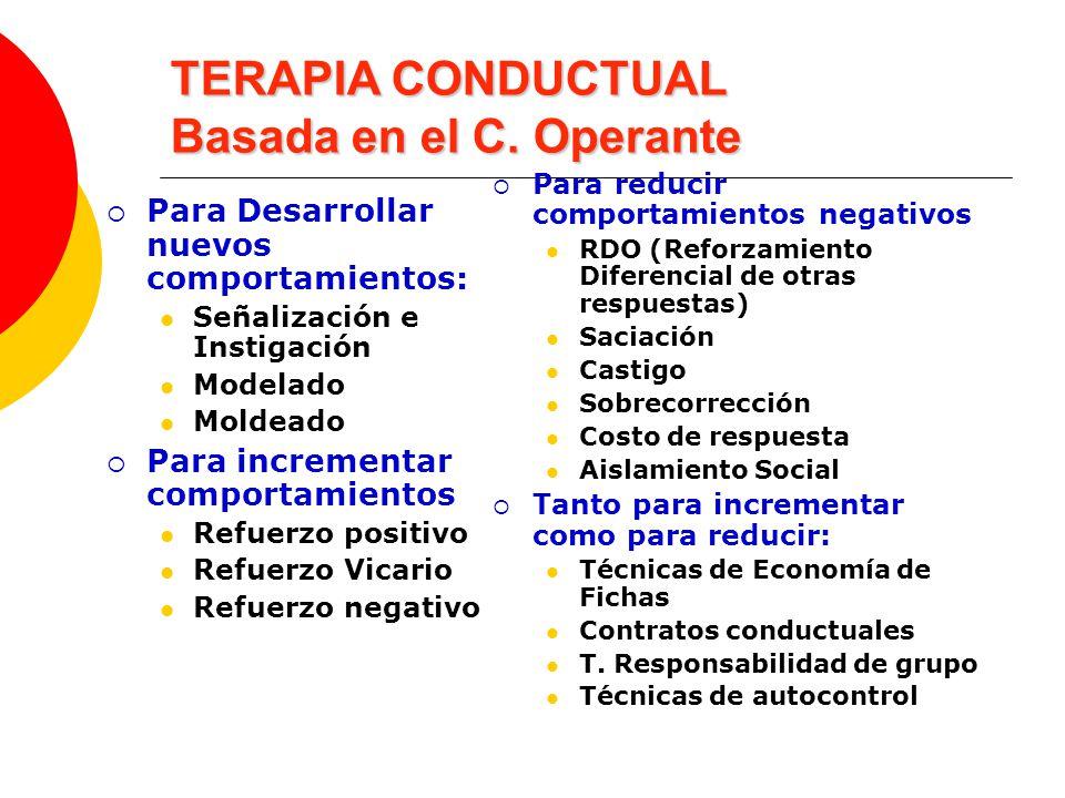 TERAPIA CONDUCTUAL Basada en el C. Operante