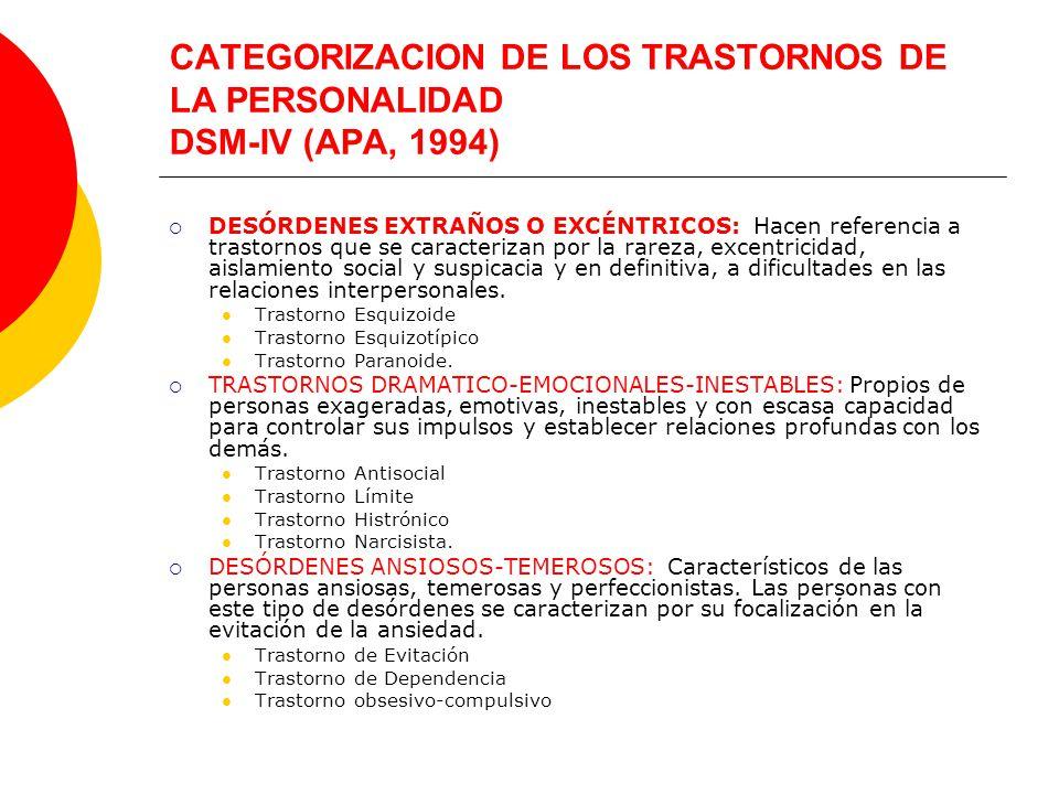 CATEGORIZACION DE LOS TRASTORNOS DE LA PERSONALIDAD DSM-IV (APA, 1994)