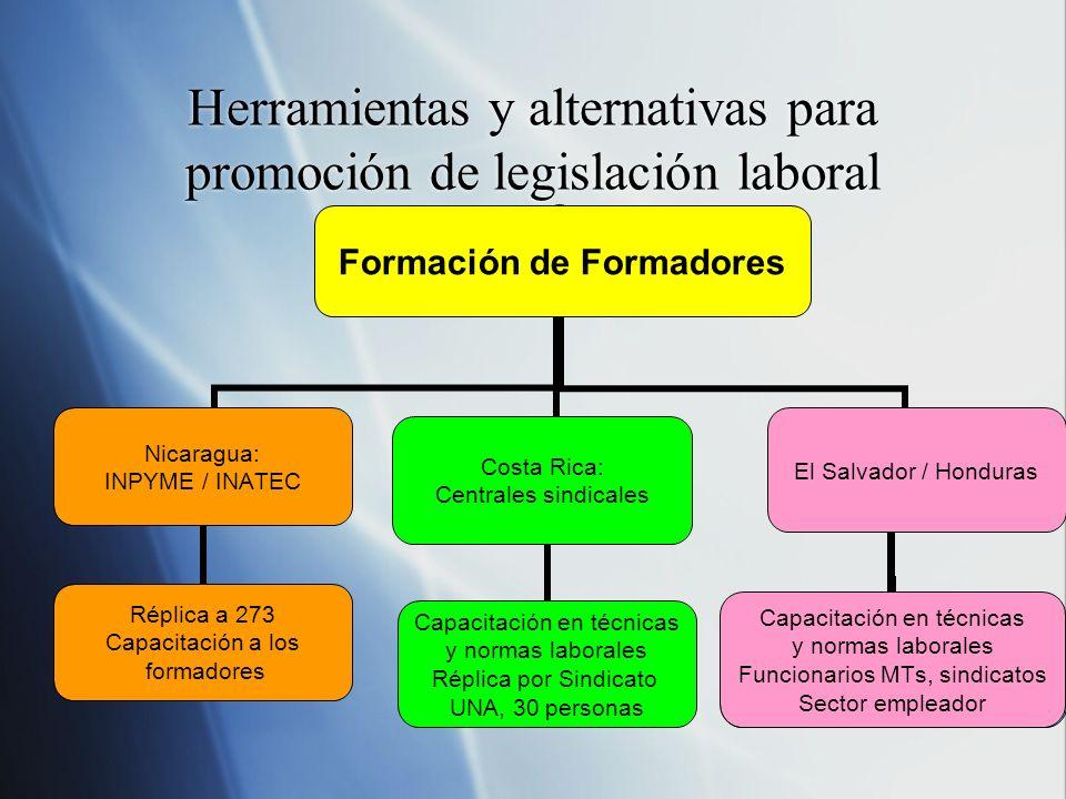 Herramientas y alternativas para promoción de legislación laboral