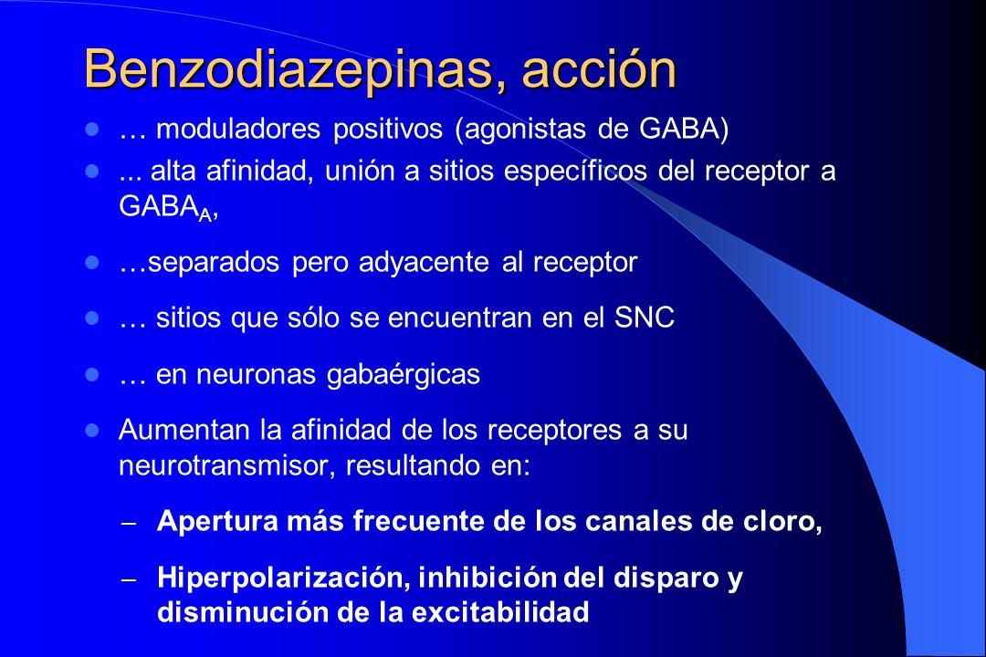 Benzodiazepinas, acción