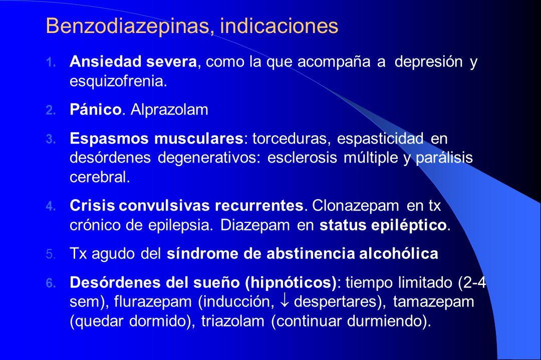 Benzodiazepinas, indicaciones
