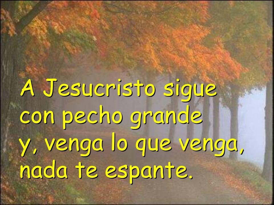 A Jesucristo sigue con pecho grande y, venga lo que venga, nada te espante.