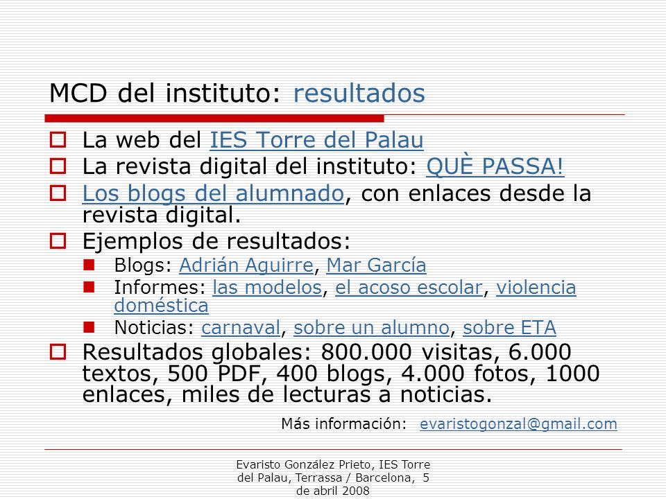 MCD del instituto: resultados