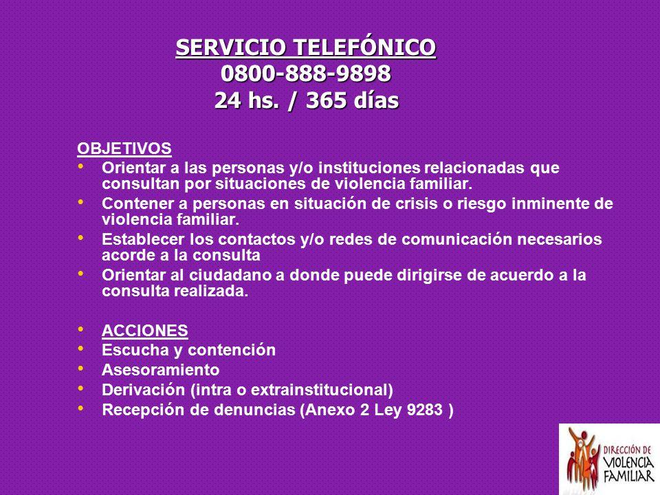 SERVICIO TELEFÓNICO 0800-888-9898 24 hs. / 365 días