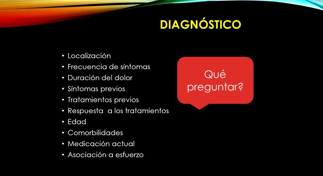 Diagnóstico Qué preguntar Localización Frecuencia de síntomas