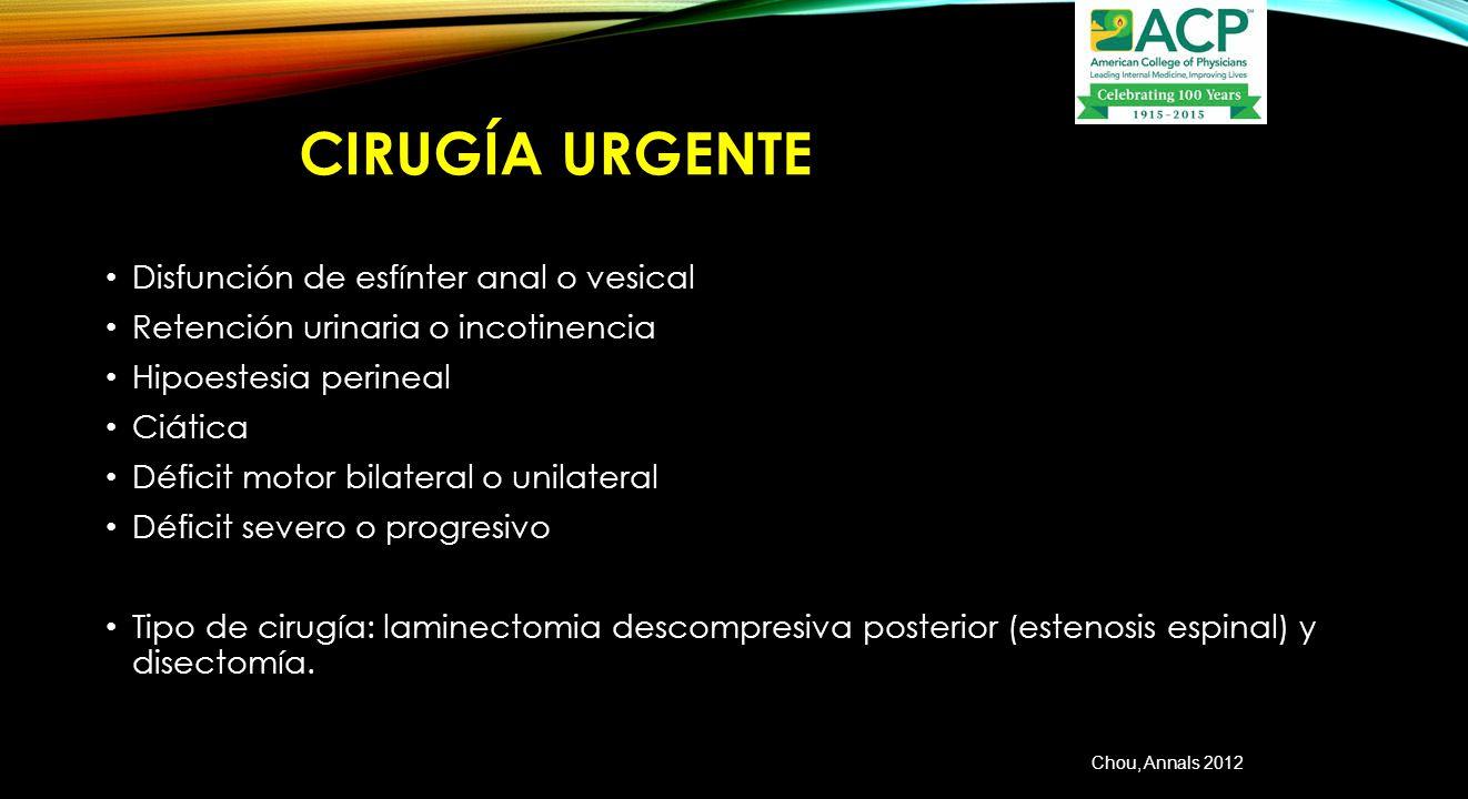 Cirugía urgente Disfunción de esfínter anal o vesical