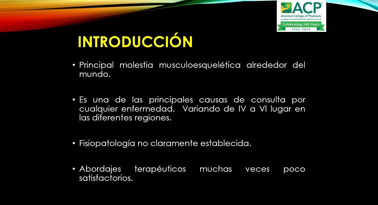 INTRODUCCIÓN Principal molestia musculoesquelética alrededor del mundo.