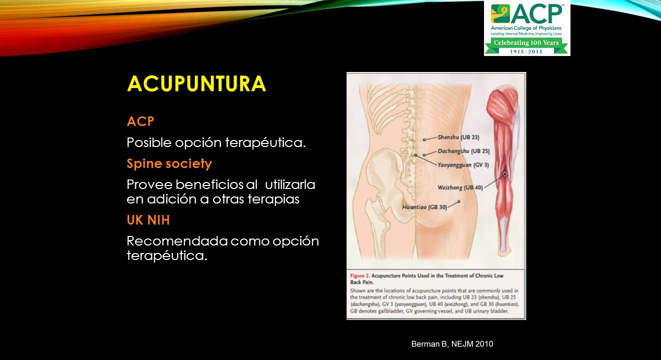 Acupuntura ACP Posible opción terapéutica. Spine society