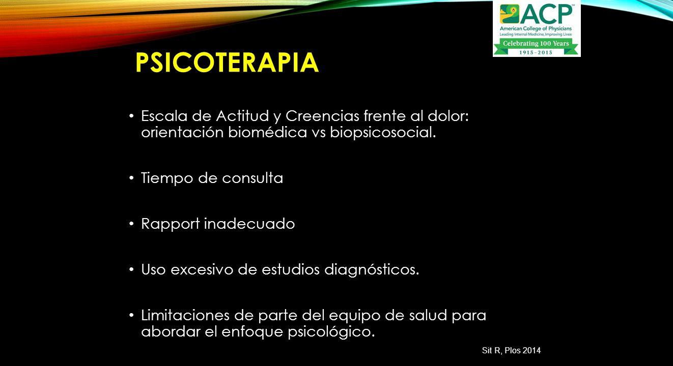 psicoterapia Escala de Actitud y Creencias frente al dolor: orientación biomédica vs biopsicosocial.