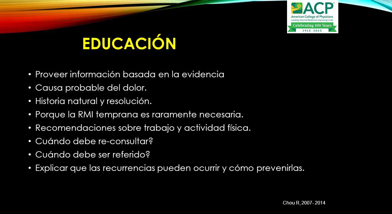 Educación Proveer información basada en la evidencia