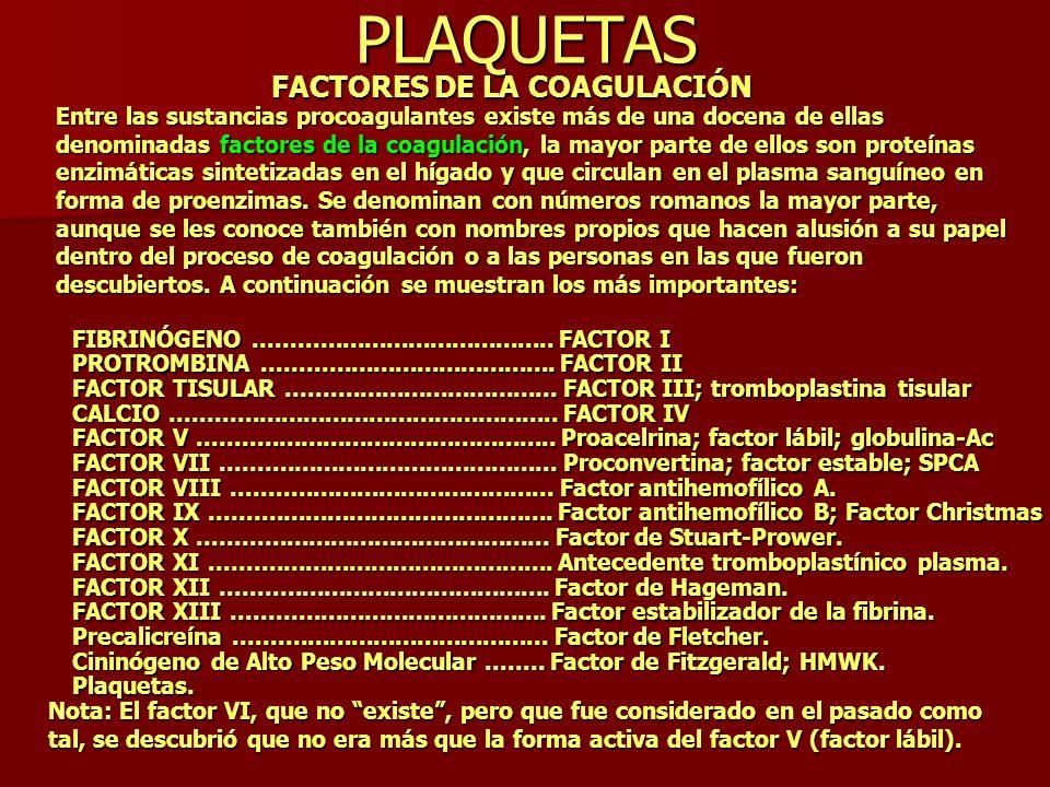 PLAQUETAS FACTORES DE LA COAGULACIÓN