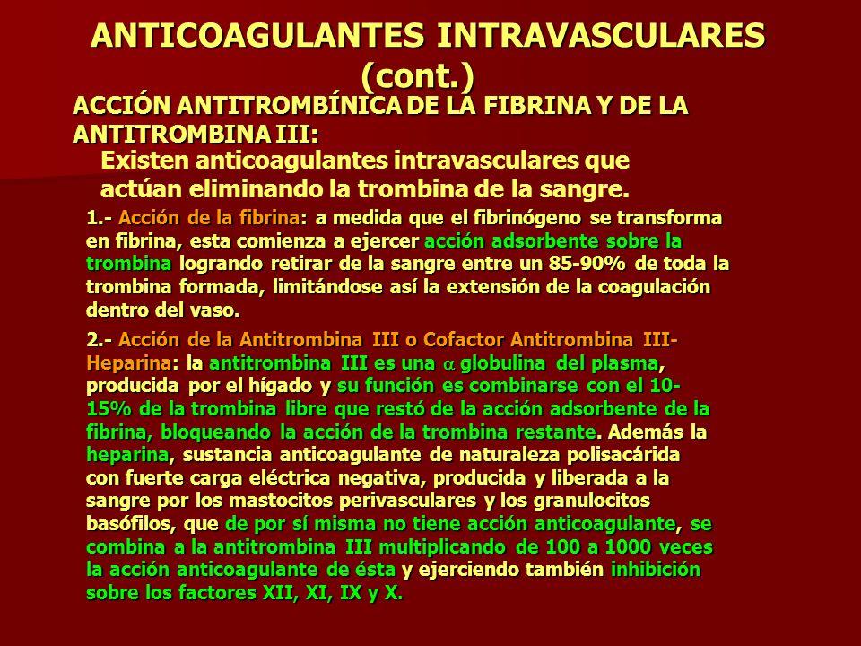 ANTICOAGULANTES INTRAVASCULARES (cont.)