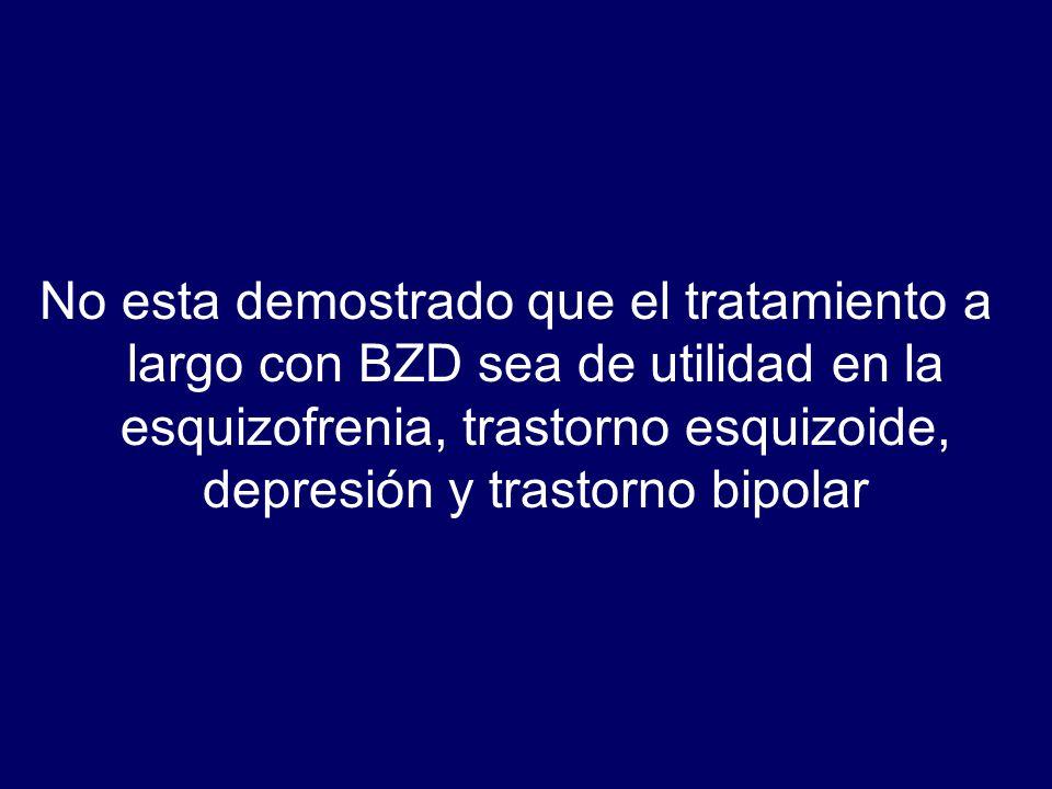 No esta demostrado que el tratamiento a largo con BZD sea de utilidad en la esquizofrenia, trastorno esquizoide, depresión y trastorno bipolar