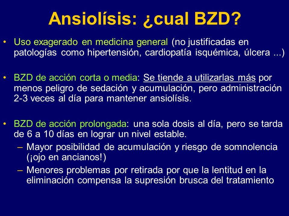 Ansiolísis: ¿cual BZD Uso exagerado en medicina general (no justificadas en patologías como hipertensión, cardiopatía isquémica, úlcera ...)