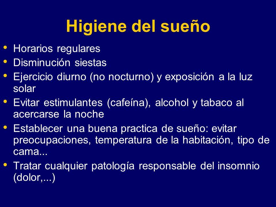 Higiene del sueño Horarios regulares Disminución siestas