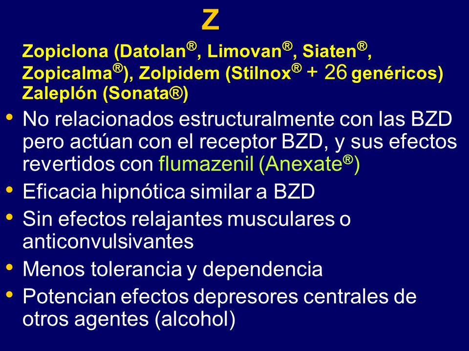 Z Zopiclona (Datolan®, Limovan®, Siaten®, Zopicalma®), Zolpidem (Stilnox® + 26 genéricos) Zaleplón (Sonata®)