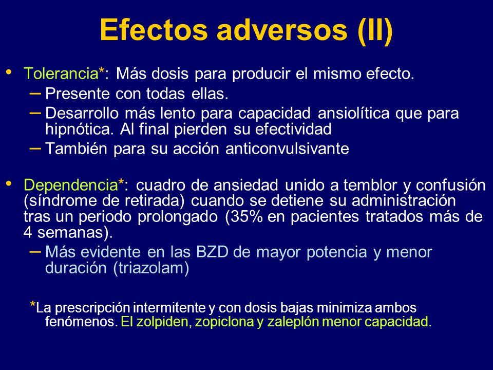 Efectos adversos (II) Tolerancia*: Más dosis para producir el mismo efecto. Presente con todas ellas.