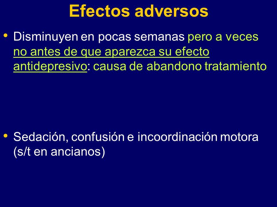 Efectos adversos Disminuyen en pocas semanas pero a veces no antes de que aparezca su efecto antidepresivo: causa de abandono tratamiento.
