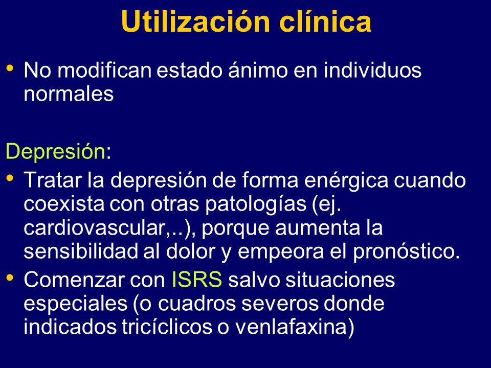 Utilización clínica No modifican estado ánimo en individuos normales