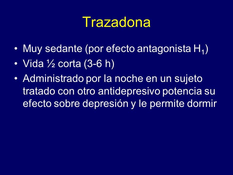 Trazadona Muy sedante (por efecto antagonista H1) Vida ½ corta (3-6 h)