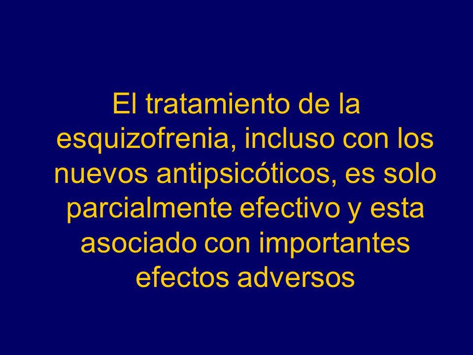 El tratamiento de la esquizofrenia, incluso con los nuevos antipsicóticos, es solo parcialmente efectivo y esta asociado con importantes efectos adversos
