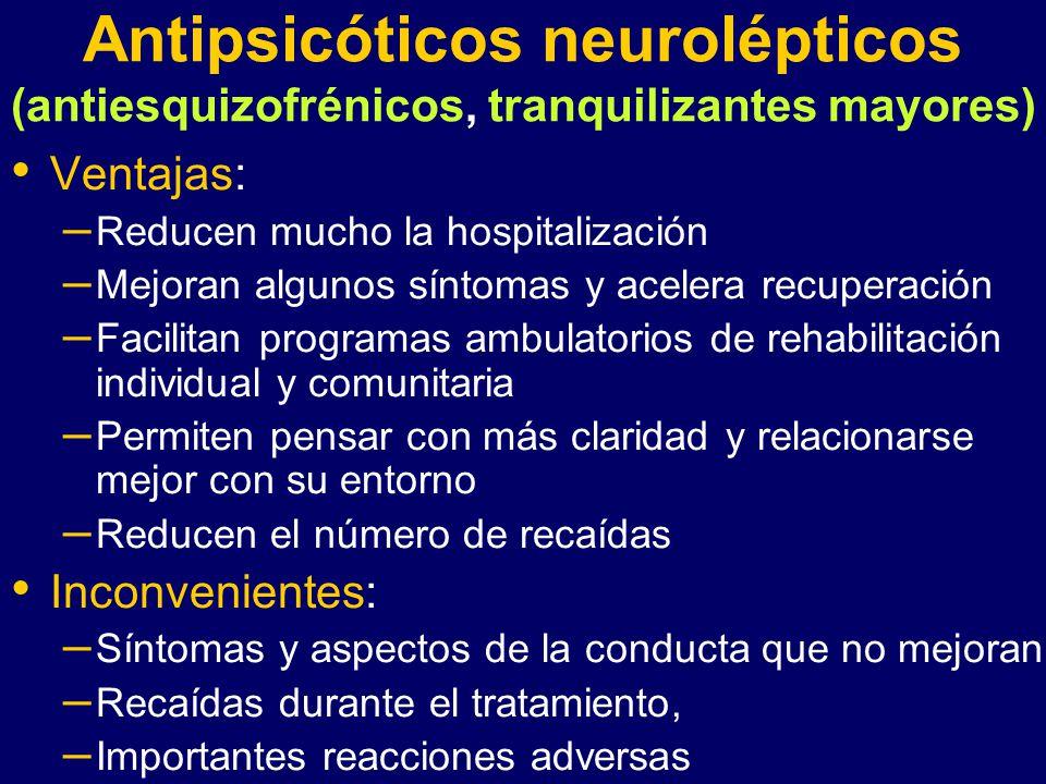 Antipsicóticos neurolépticos (antiesquizofrénicos, tranquilizantes mayores)