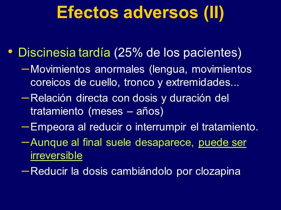 Efectos adversos (II) Discinesia tardía (25% de los pacientes)