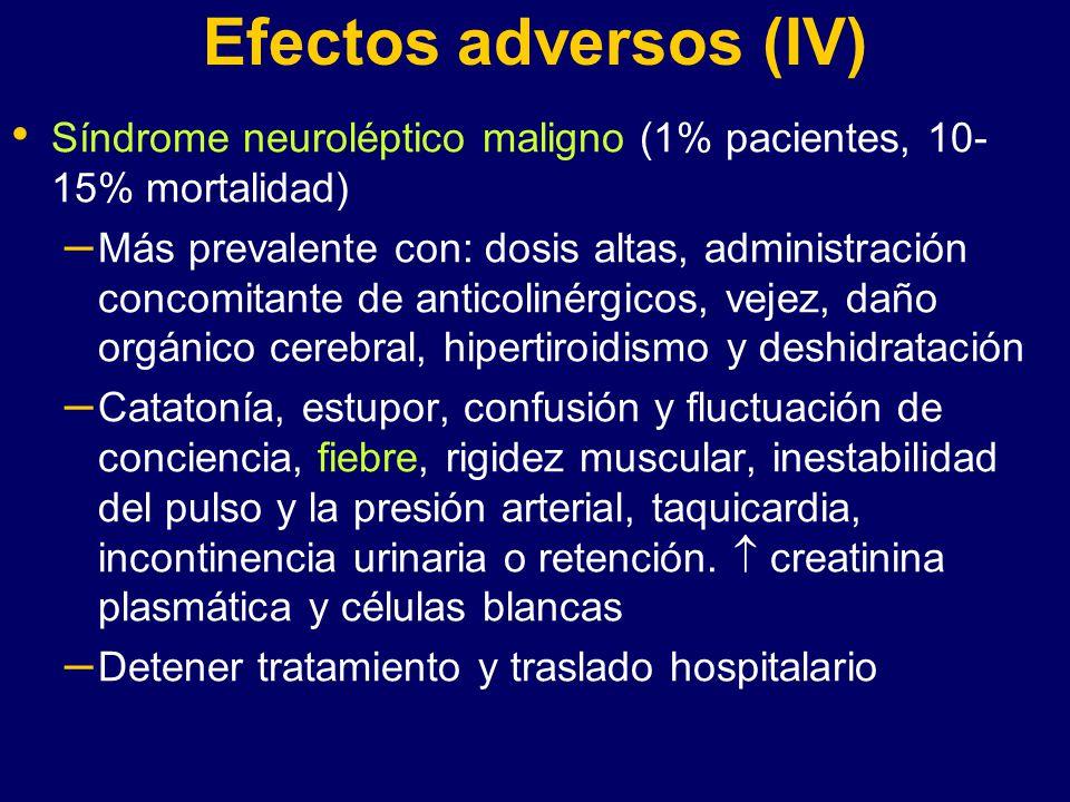 Efectos adversos (IV) Síndrome neuroléptico maligno (1% pacientes, 10-15% mortalidad)