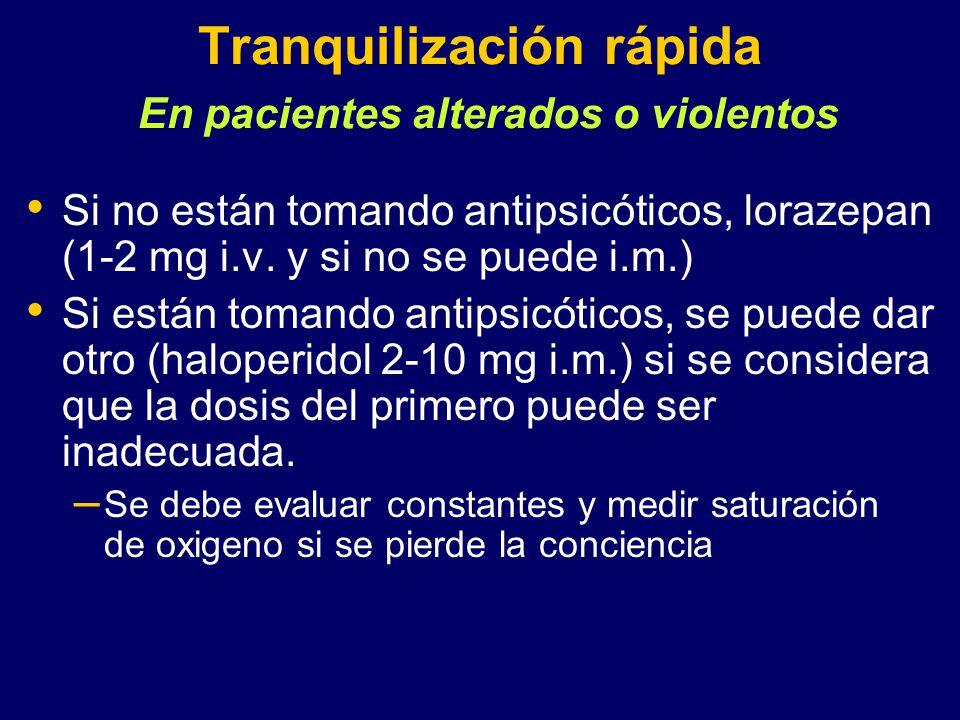 Tranquilización rápida En pacientes alterados o violentos