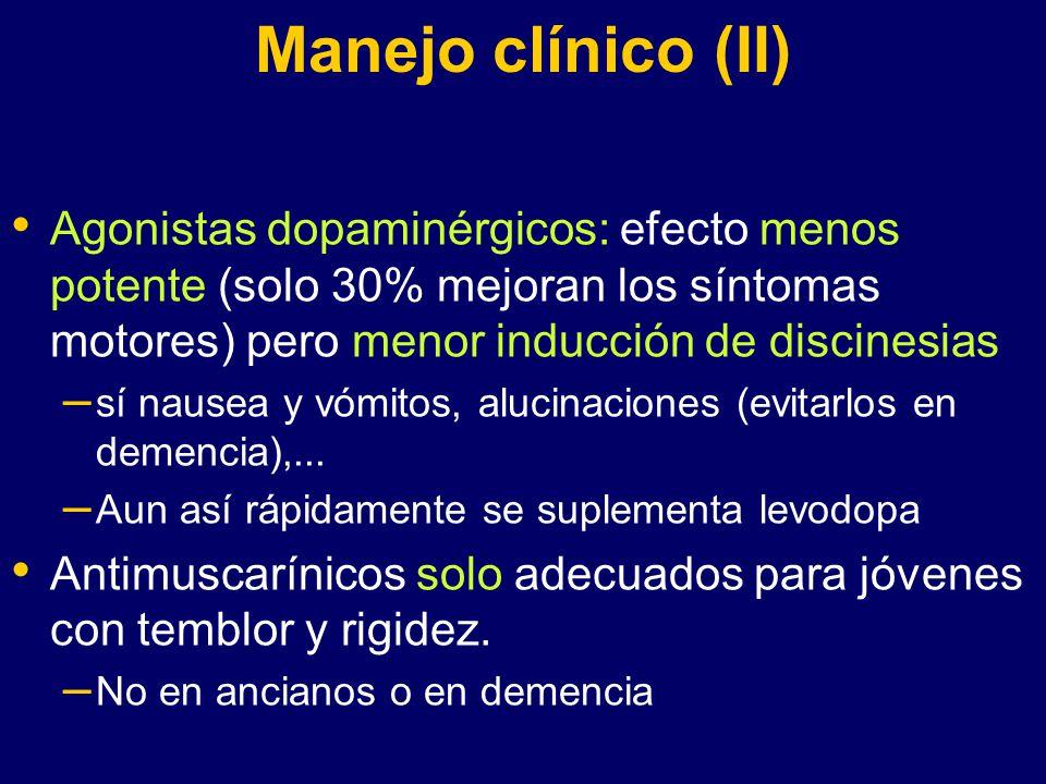 Manejo clínico (II) Agonistas dopaminérgicos: efecto menos potente (solo 30% mejoran los síntomas motores) pero menor inducción de discinesias.