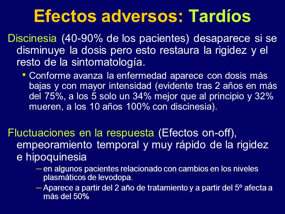 Efectos adversos: Tardíos