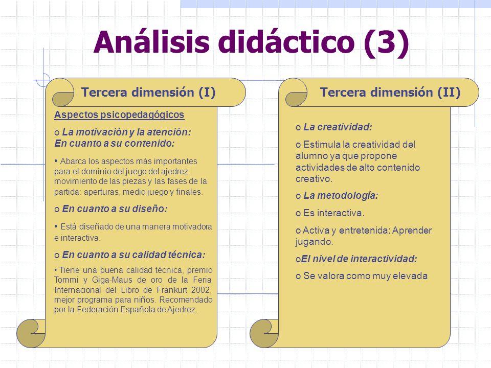 Análisis didáctico (3) Tercera dimensión (I) Tercera dimensión (II)