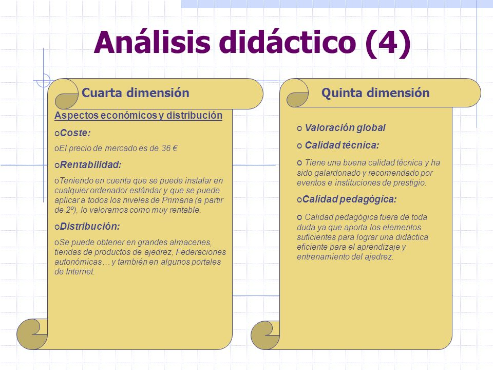 Análisis didáctico (4) Cuarta dimensión Quinta dimensión