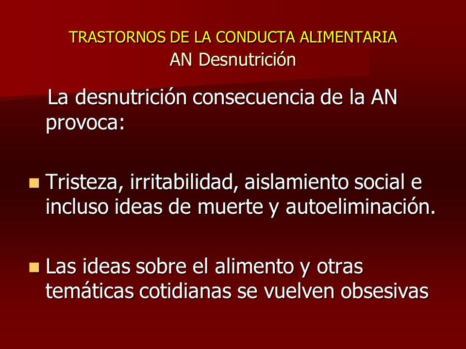 TRASTORNOS DE LA CONDUCTA ALIMENTARIA AN Desnutrición