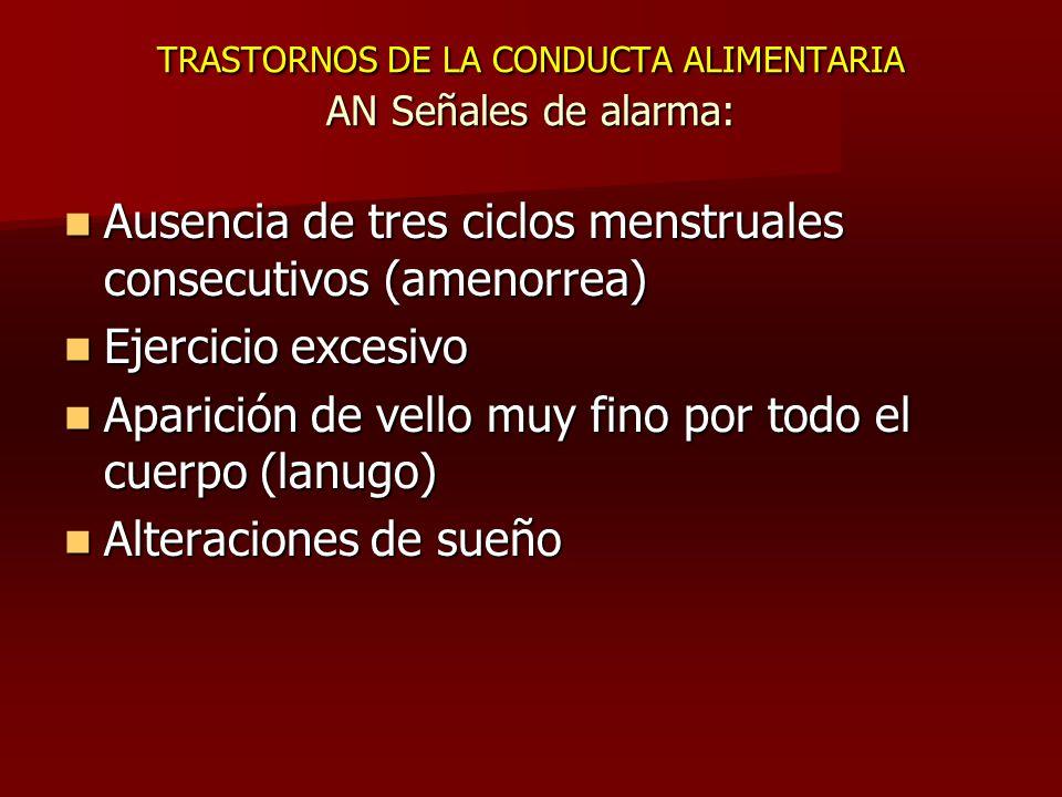 TRASTORNOS DE LA CONDUCTA ALIMENTARIA AN Señales de alarma: