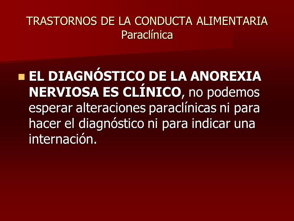 TRASTORNOS DE LA CONDUCTA ALIMENTARIA Paraclínica