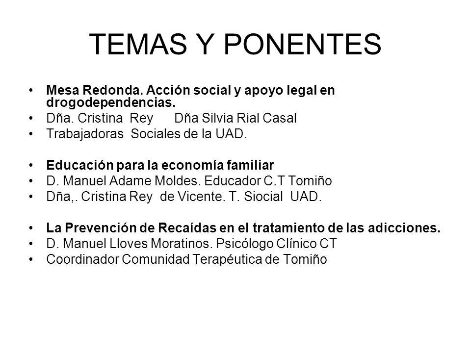 TEMAS Y PONENTES Mesa Redonda. Acción social y apoyo legal en drogodependencias. Dña. Cristina Rey Dña Silvia Rial Casal.