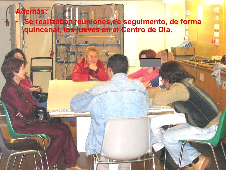 Además: Se realizaban reuniones de seguimento, de forma quincenal, los jueves en el Centro de Día.