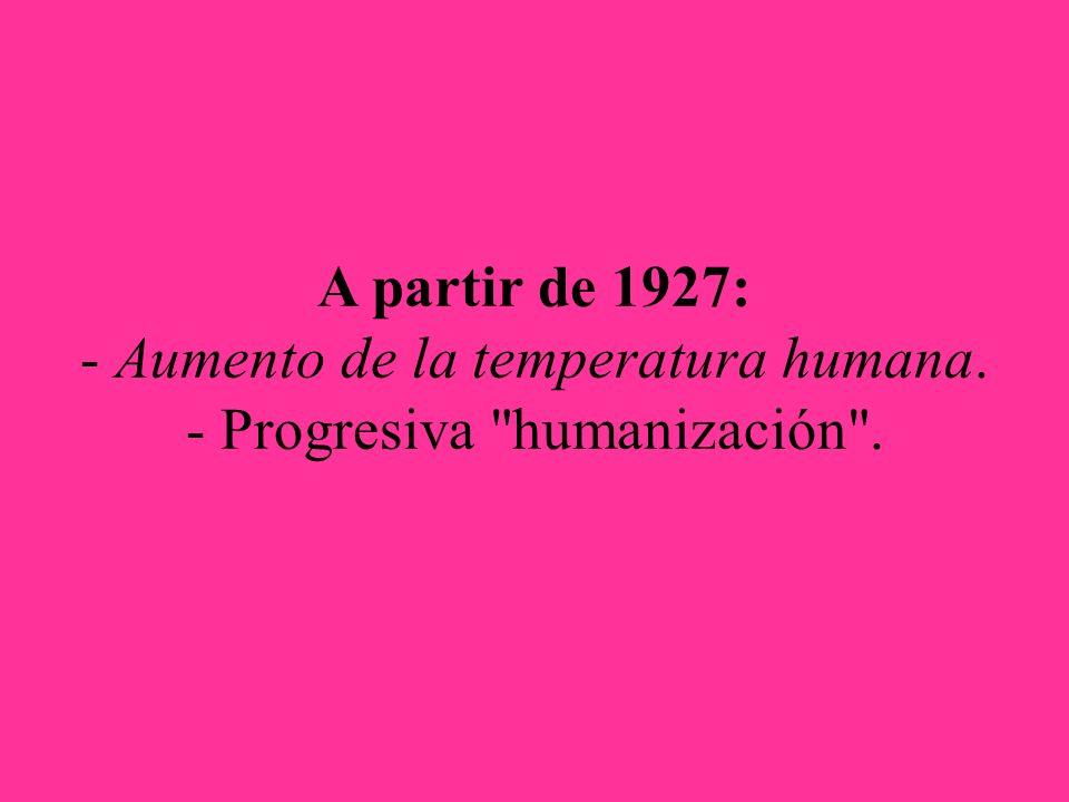 A partir de 1927: - Aumento de la temperatura humana