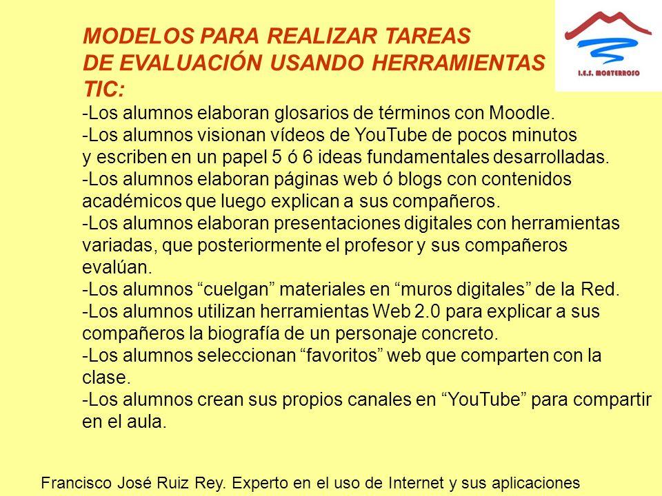 MODELOS PARA REALIZAR TAREAS DE EVALUACIÓN USANDO HERRAMIENTAS TIC: