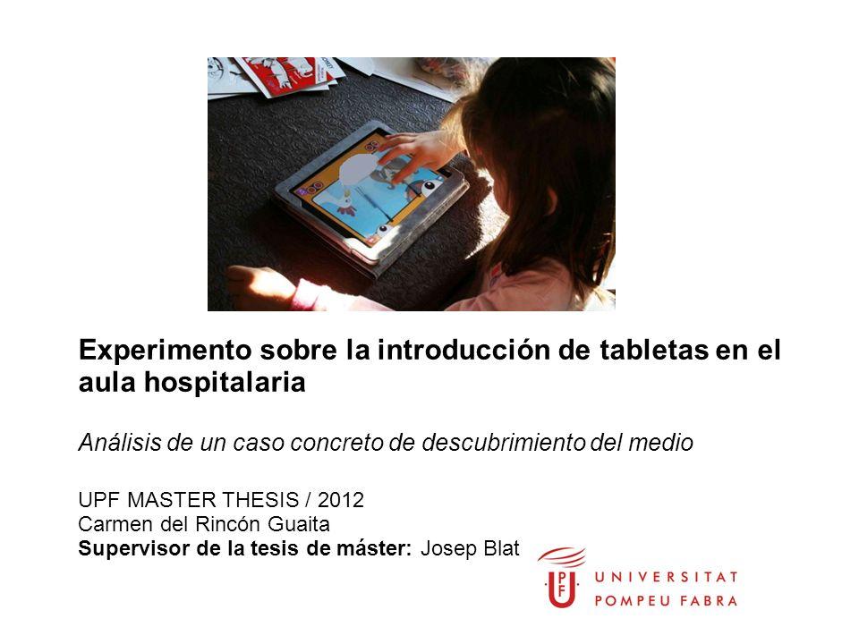 Experimento sobre la introducción de tabletas en el aula hospitalaria