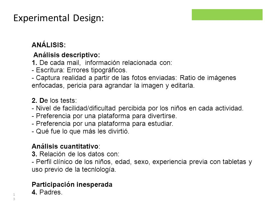 Experimental Design: ANÁLISIS: Análisis descriptivo: