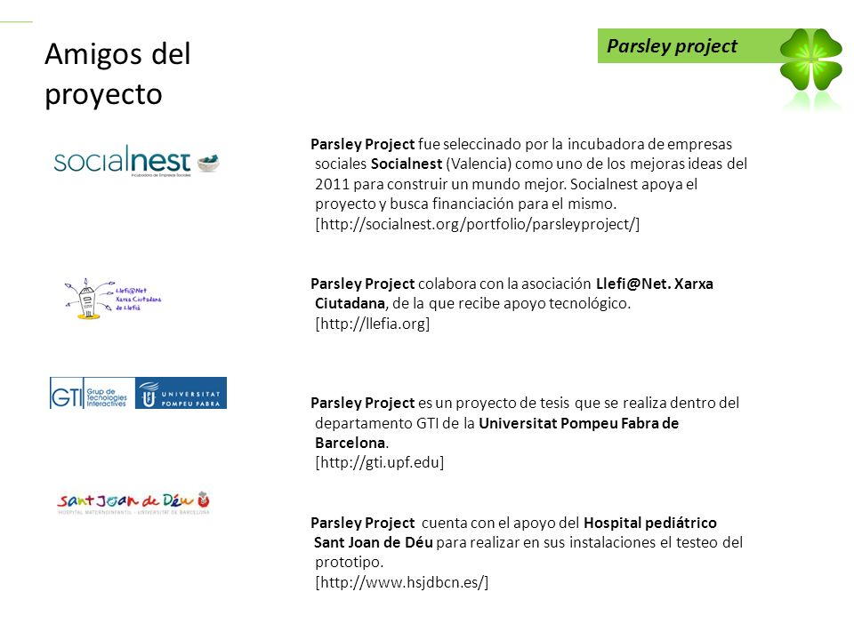 Amigos del proyecto Parsley project